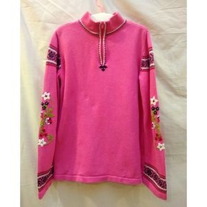 Hanna Andersson Pink Nordic Trim  Sweater 130 / 8